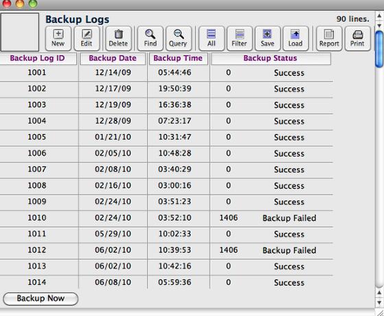 Backup Logs window
