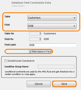 Database Field Constraints Entry