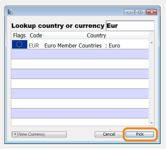 Enter the country name or code to find the currency you wish to add.