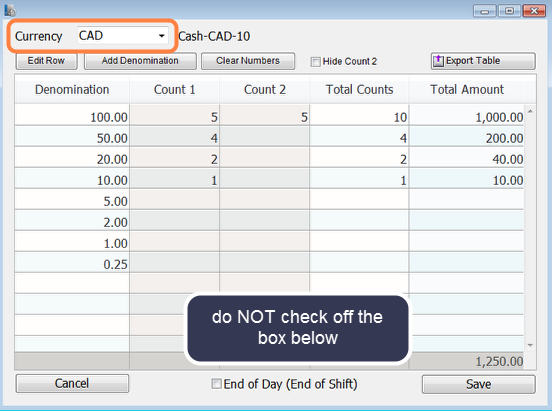 Enter the cash denominations in your till