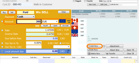 Sell currency to Buyer