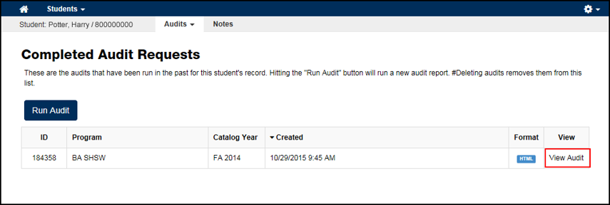 Completed Request screen with View Audit link next to the completed audit highlighted