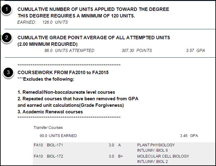 Step 1: Cumulative Units; Step 2: Cumulative GPA; Step 3: Coursework section