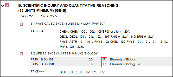 In Progress notation highlighted in red