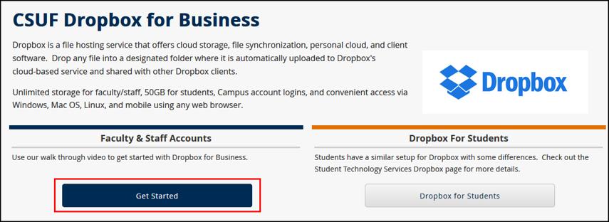 IT Dropbox for Business website