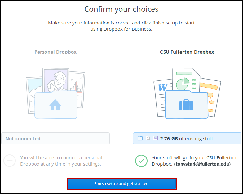 Confirm choices page
