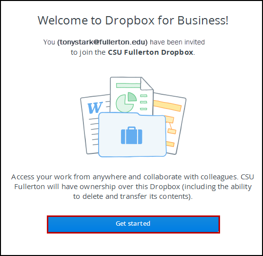 Dropbox welcome page