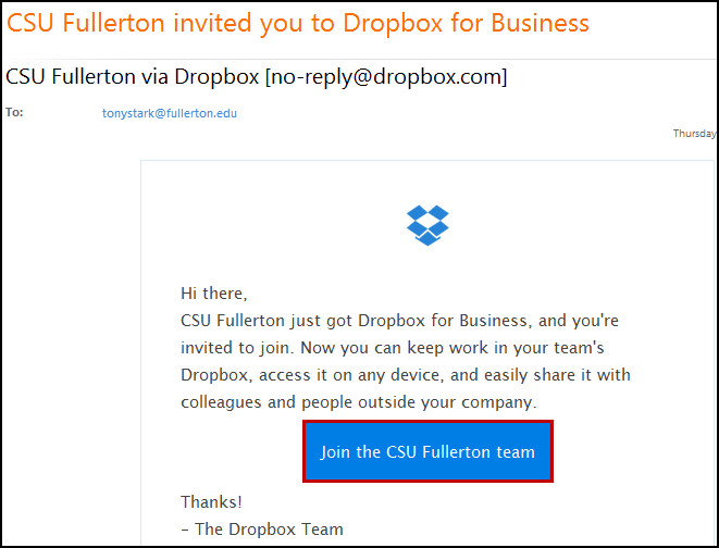 CSU Fullerton Dropbox for Business invitation email