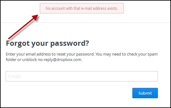 No account found notification