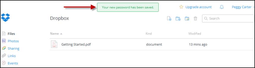 Dropbox account homepage