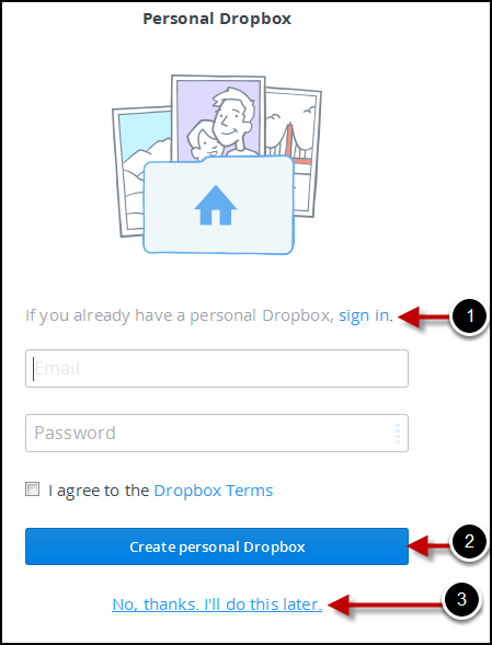 Personal Dropbox  options