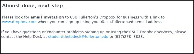 Dropbox registration success page