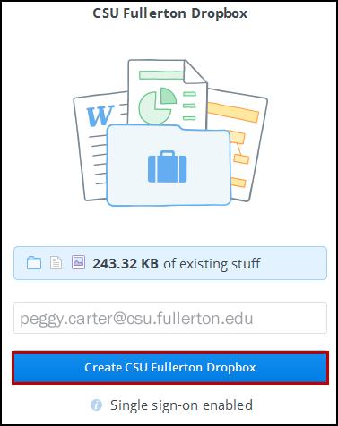 Create Dropbox screen