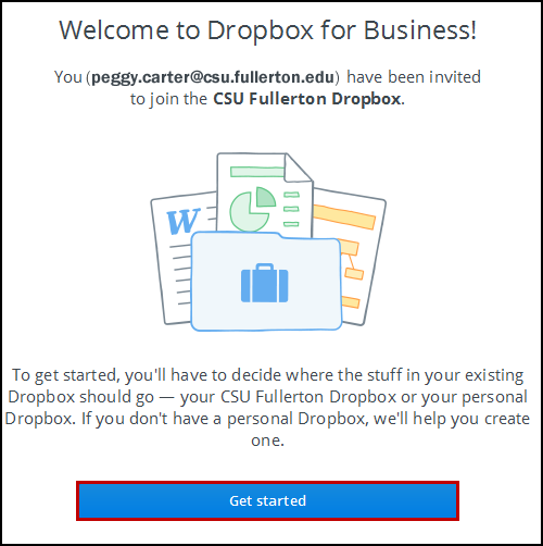 Dropbox for Business welcome screen