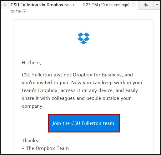 CSU Fullerton Student Dropbox for Business invitation email