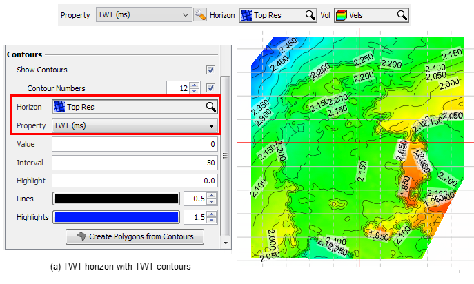 "a) Display time contours for a TWT horizon by selecting the TWT property for the ""Top Res"" horizon."