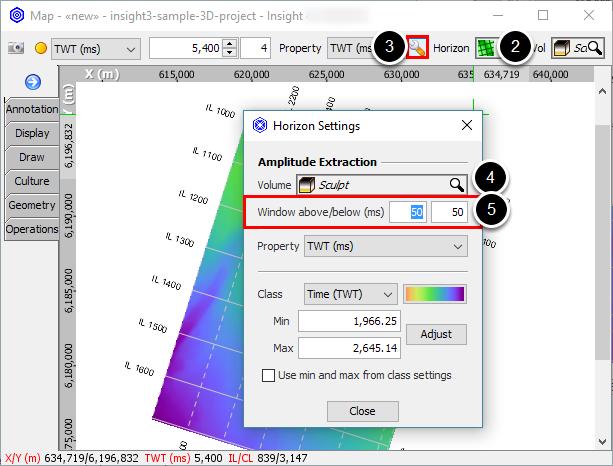 Set amplitude extraction window