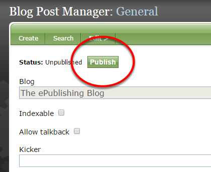At the top of the page, click the green Publish button.