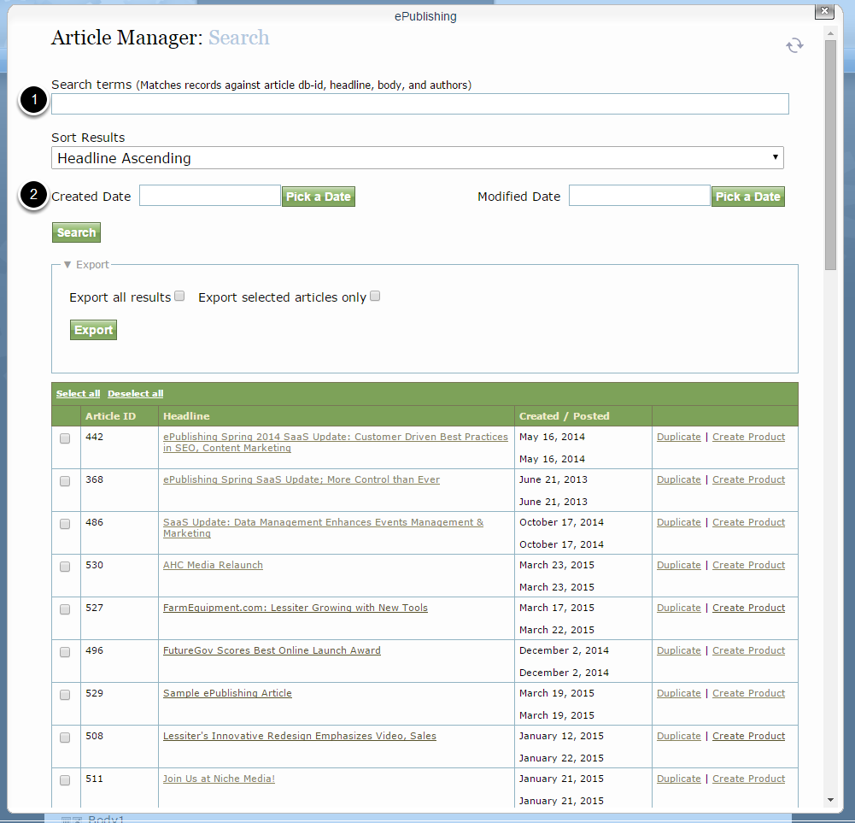 If you have chosen Search or Search and Edit, the Article Manager search tool will appear.