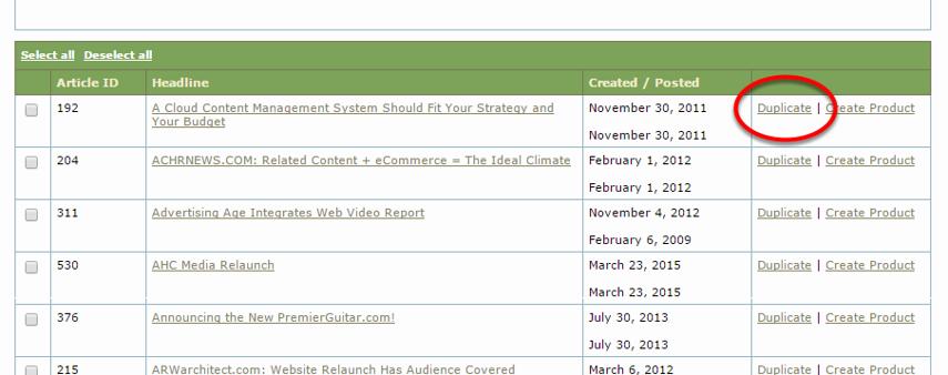 To duplicate an article, click Duplicate.