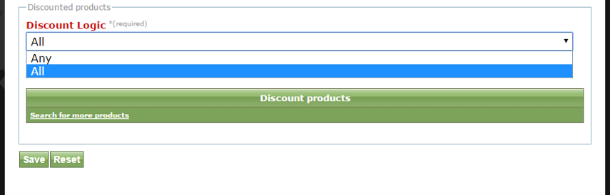 Select either All or Any in the dropdown under Discount Logic and select the product or products the discount is based on.