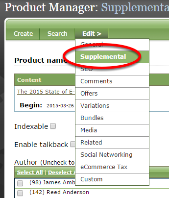 Under Edit, click Supplemental within your product in the Product Manager.