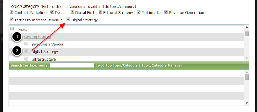 Expand a category by clicking on it (1). To associate a topic, click on the box (2).