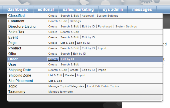 Under Sales/Marketing on your dashboard, click Search next to Order.