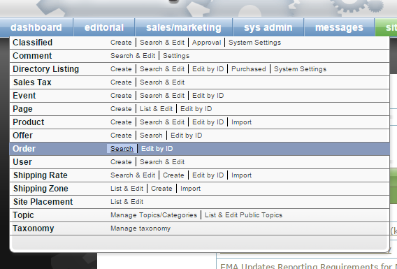 Access the Order Manager by clicking Search next to Order under Sales/Marketing on your dashboard.