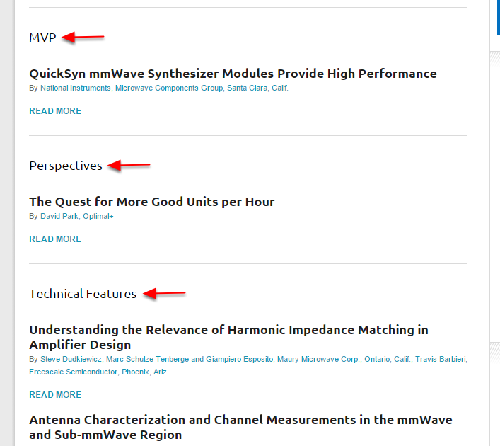 Here's an example of how sections appear on your publication's landing page.