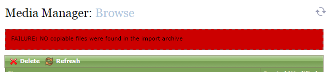 If your import was not successful, a red FAILURE bar will appear at the top of the Media Manager.