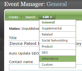 In the Event Manager, click Attendance under Edit.