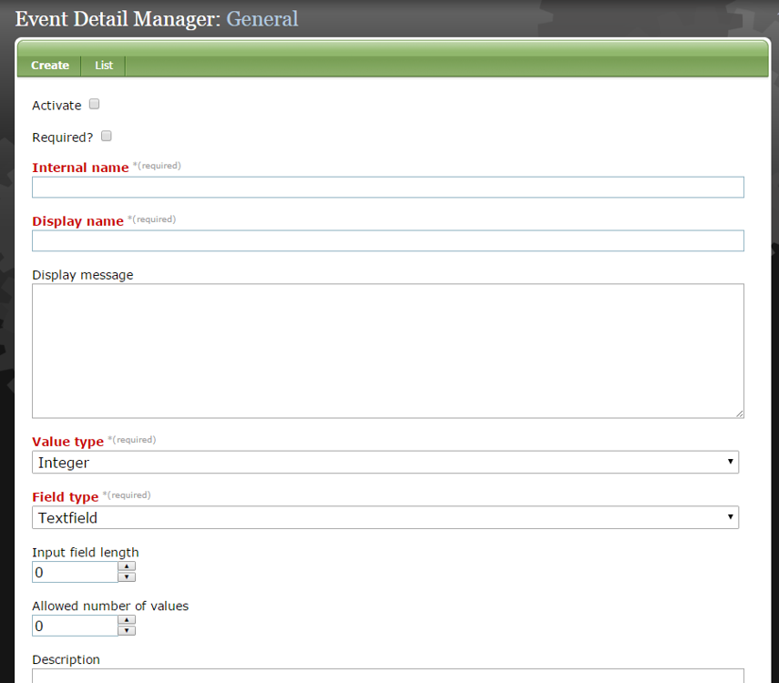 To create a new custom event detail, select Create & Edit. The Event Detail Manager will open.