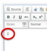 Click Source again to return to the standard editor. Your special character should appear.