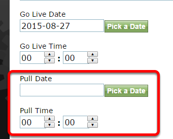Option 2: Update the pull date of articles, blog posts and directory listings to a past date.