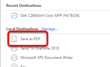 Select Save as PDF.