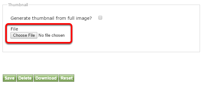 Option 2: Upload a thumbnail from your desktop or network drive using the Choose File button.