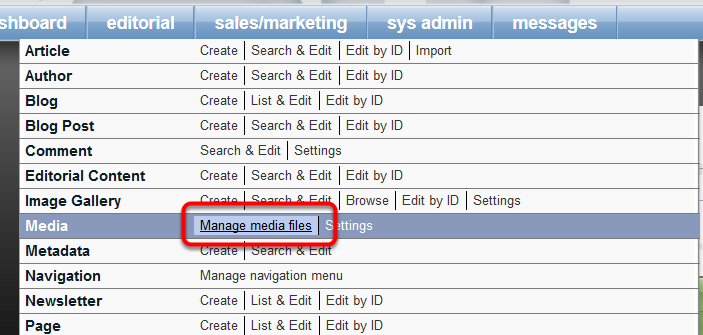 Upload the logo file to Media Manager by going to Editorial > Media > Manage media files.