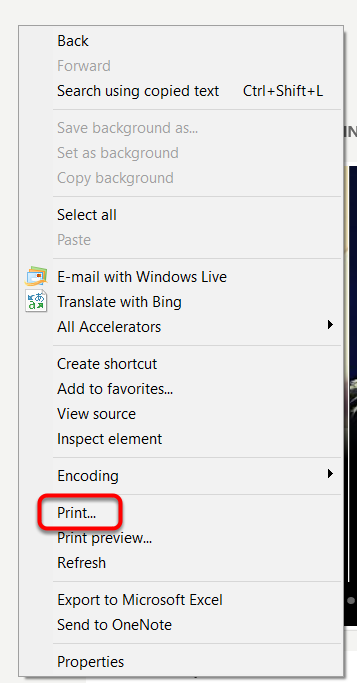In Internet Explorer, right-click in the browser window and select Print.