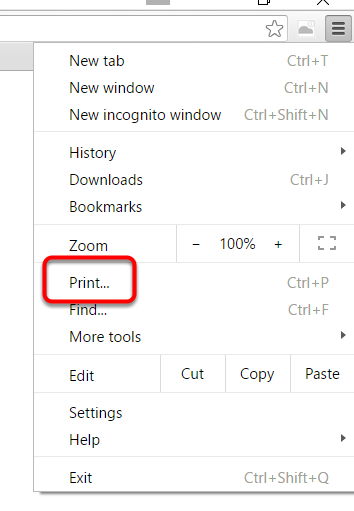 In Chrome, click the stacked menu on the top right and select Print.