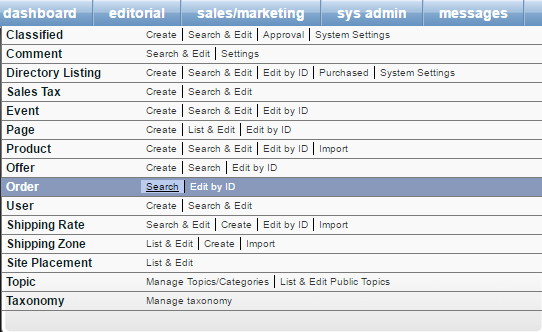 Go to Sales/Marketing > Order > Search.