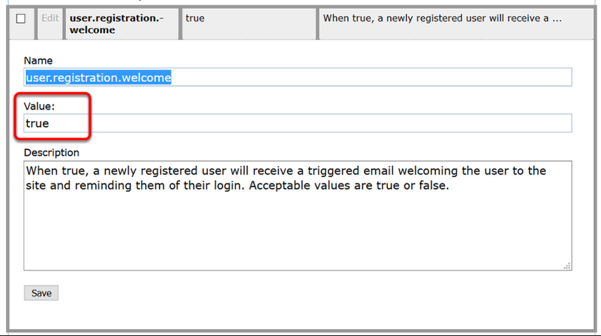 "Update the Value to ""true"" if you want registered users to receive an email. Set it at ""false"" if you don't."