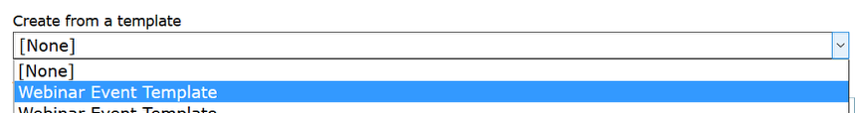 Select the template name from the Create from a Template dropdown.