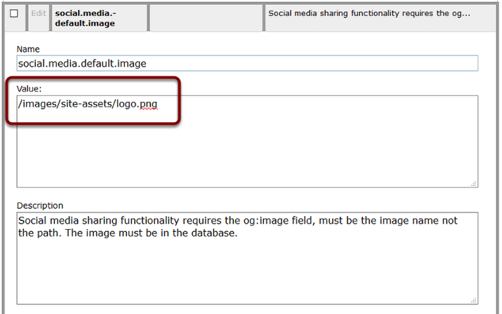 Paste the path you copied in the Media Manager under Value; delete /ext/resources at the front of the URL.
