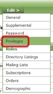To remove privileges, click Privileges under Edit.
