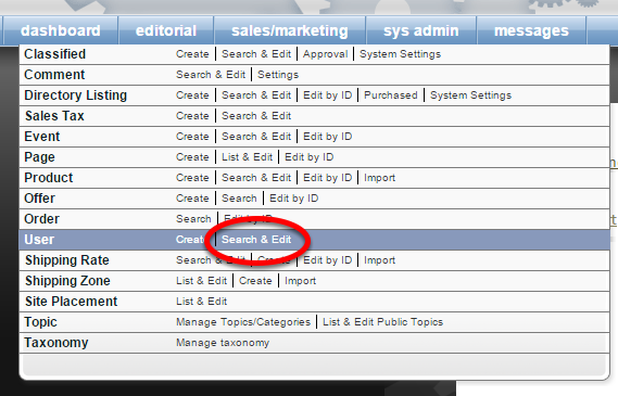 Under Sales/Marketing, click Search & Edit next to User.