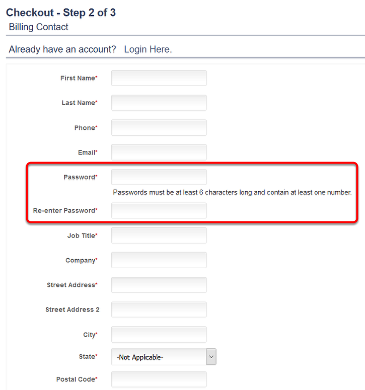 This is where the password fields appear while your customers are checking out: