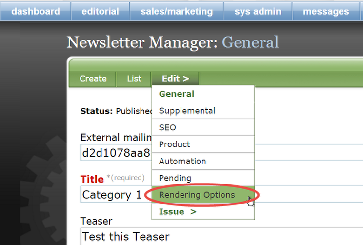 In the General editor, select Edit > Rendering Options.