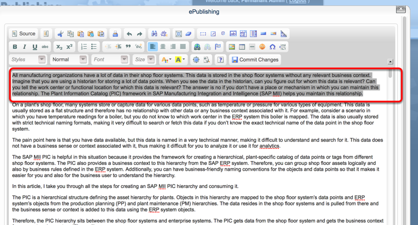 In the WYSIWYG, highlight the block of text.