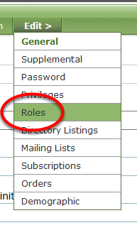 Within the user's record, under Edit, select Roles.